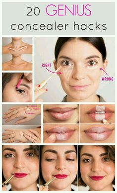 makeup tips 20 genius concealer hacks thatll change your whole makeup routine makeup tips All Things Beauty, Beauty Make Up, Hair Beauty, Beauty Care, Beauty Skin, Beauty Stuff, Diy Beauty Hacks, Diy Hacks, Beauty Ideas