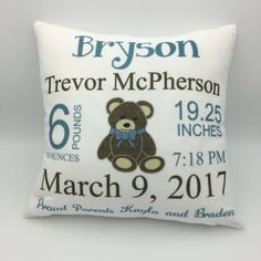 New Baby Pillow | Baby Announcement  | Baby Stats Pillow | Custom Baby Pillow | Keepsake Gift | New Parent Gift | Personalized Baby Gift by TheInspiredStudio on Etsy