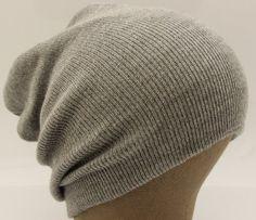 Ribbed Beanie Hat Slouch Style Skull Cap Ski Hat Light Grey $6.99