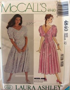 363f496c1af Laura Ashley McCalls Sewing Pattern 4840 Womens Dropped Waist Bridesmaid or  Prom Dress Size 14 Bust 36 UnCut