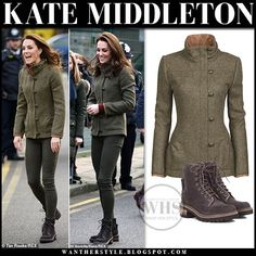 Kate Middleton in khaki tweed jacket and brown suede ankle boots in North London on January 15 - Kate Middleton in khaki tweed jacket, jeans and brown suede ankle boots - Fall Winter Outfits, Autumn Winter Fashion, Tweed Jacket, Jacket Jeans, Brown Jacket, Hiking Boots Outfit, Princesa Kate Middleton, Moda Blog, Kate Middleton Style