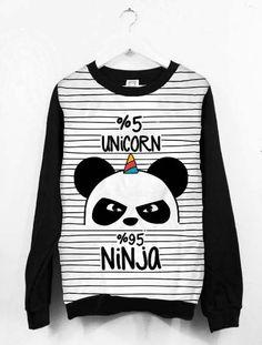 Blusa Moletom Canoa Feminino Tumblr Unicórnio Panda Ninja e62c149a36fe2