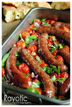 Beef Sausages & Balsamic Tomatoes. This is one of my favorite weeknight meals. Add fresh hot crusty bread and you have a really easy meal that makes you look like a 5 star chef