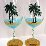 beach wine glass | palm trees glass painting design, craft ideas  Paint For Wine Glasses Paint For Wine Glasses Ideas