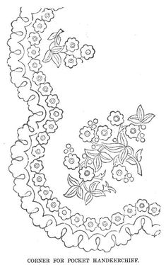 Paper Embroidery Patterns Vintage floral embroidery design for a lady's handkerchief or any other embroidery project requiring floral sprays or a square frame. Mexican Embroidery, Paper Embroidery, Learn Embroidery, Vintage Embroidery, Cross Stitch Embroidery, Floral Embroidery, Embroidery Software, Embroidery Techniques, Machine Embroidery Designs