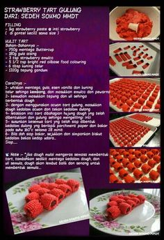 Strawberry tart gulung Quiche Recipes, Tart Recipes, Asian Recipes, Cooking Recipes, Brownies, Pineapple Jam, Strawberry Tart, Cookie Brownie Bars, Bakery Business