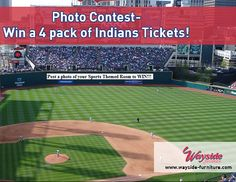 Win a 4 pack of Indians Tickets for the 5/1 game! Post a photo of your sports themed rec room/man cave/TV room in the comments below by 4/26. Wayside will choose the winner based on creativity and fun. Winner will be announced April 27!