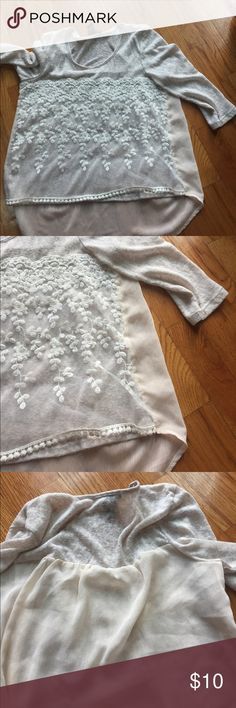 Light weight sweater Fun light weight. Shorter up front with a sheet back. 3/4 shelved Tops