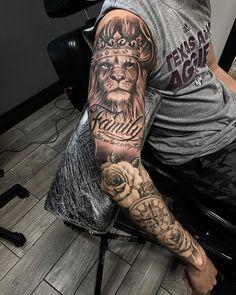 Lion Forearm Tattoos, Lion Head Tattoos, Mens Lion Tattoo, Forarm Tattoos, Dope Tattoos, Leg Tattoos, Lion Tattoo Sleeves, Forearm Sleeve Tattoos, Best Sleeve Tattoos