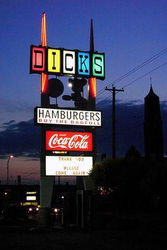 Dicks Hamburgers - Spokane, WA Sort of a local shrine. Love the people who work here. Spokane Washington, Washington State, Oh The Places You'll Go, Places To Eat, Spokane Restaurants, Evergreen State, Coeur D'alene, Vintage Signs, Pacific Northwest