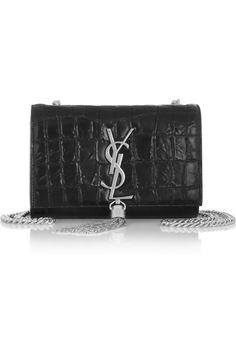 Saint Laurent|Monogramme croc-effect leather shoulder bag|NET-A-PORTER.COM