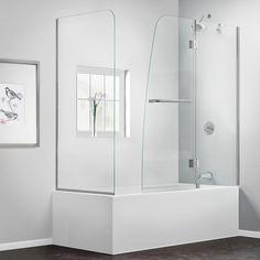 DreamLine SHDR-3148586-RT-04 Aqua 56 to 60 in. W x 58 in. H Tub Door, Nickel Finish Hardware