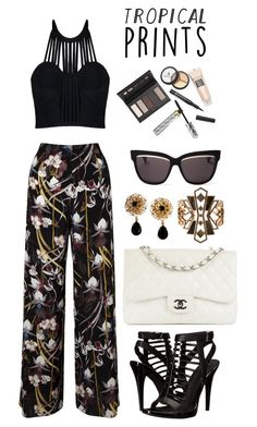 """""""Hot Tropics"""" by acacia97 ❤ liked on Polyvore featuring Miss Selfridge, Posh Girl, Calvin Klein, Chanel, Dolce&Gabbana, Lulu Frost, Christian Dior, Borghese, tropicalprints and hottropics"""