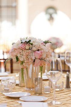 Ivory Pink Silver Elegant Wedding Centerpiece