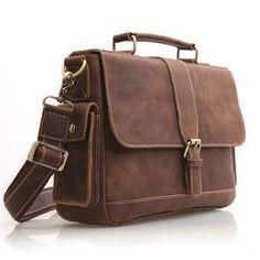 "Vintage Handmade Crazy Horse Leather Briefcase / Messenger / 11"" MacBook Air or 12"" Laptop Bag in Old Dark Brown"