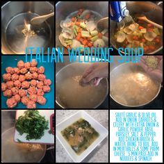 Sauté garlic & olive oil. Add in onion, carrots & celery with extra onion & garlic powder, basil, parsley, salt, & pepper. Add chicken broth & water. Bring to boil. Add in meatballs & some Parm cheese . 5 min pass add in noodles & spinach.