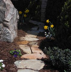 Irregular stone is well suited for a natural, woodland feeling path.