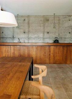 // home design Kitchen Industrial Design, Modern Kitchen Design, Kitchen Interior, Kitchen Decor, Kitchen Office, Concrete Kitchen, Wooden Kitchen, Concrete Walls, Concrete Bedroom