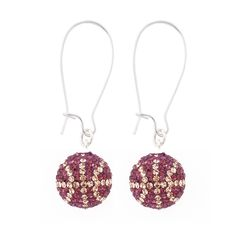 Handcrafted Grape-Champagne (Purple-Light Gold) Basketball Earrings with Silver Wire, Item E-BB21, Price:  $35.99, © GameDay Fusion