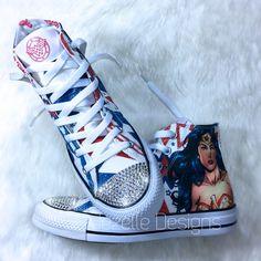 000a07e988eef4 Bling Wonder Woman DC Comics Converse hi tops by JezelleDesigns.etsy.