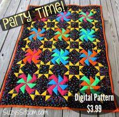 Quilt Pattern quilt Party Time jewel tone by SuzysSitcomStore Patch Quilt, Quilt Blocks, Spiral Crochet Pattern, Lap Quilts, Strip Quilts, Mini Quilts, Quilting Designs, Quilting Ideas, Crazy Quilting