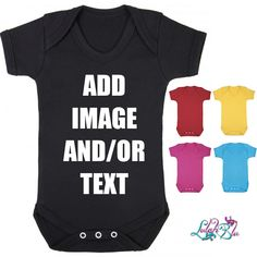 Personalised Baby Grows (All Colours) from Lulah Blu. Add your own art work and text to a baby grow, we have all sizes from Newborn to 2 years. Add Image, Personalised Baby, Baby Grows, Custom Bags, Red And White, Black, All The Colors, Ads, Colours