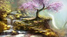 Обои желания, холмы, водопад, арт, ленты, сакура, дерево на рабочий стол 110241