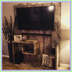 ideas for rustic tv stand-#ideas #for #rustic #tv #stand Please Click Link To Find More Reference,,, ENJOY!! Diy Tv Wall Mount, Wall Mounted Tv, Mount Tv, Diy Wall, Wall Mount Entertainment Center, Entertainment Weekly, Entertainment Stand, Entertainment Products, Pallet Stand Ideas