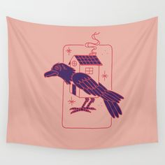 HOME AWAY FROM HERE Wall Tapestry. #drawing #ink-pen #digital #pastel #bird #home #away #travel #crow #leave #poetry