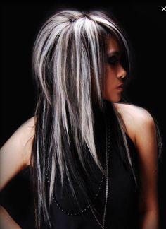 Black Wavy Hair With Silver Blonde Highlights (medium layered hair black) Guy Tang Hair, Great Hairstyles, Blonde Hairstyles, Scene Hairstyles, Layered Hairstyles, Hairstyles 2018, Hairdos, Braided Hairstyles, Hair Color And Cut