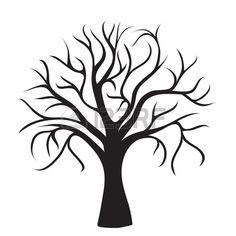 Schwarz Baum ohne Blätter auf weißem Hintergrund, Vektor-Bild Stockfoto