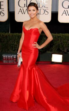 Eva Longoria: In a nod to old-school Hollywood glamour, the petite actress opted for a classically chic style with a red-hot Reem Acra strapless with a mermaid tail. A scalloped sweetheart neckline added a modern twist to her look at the 2009 Golden Globes.
