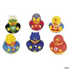 12 Super Hero Rubber Duck Party Favors
