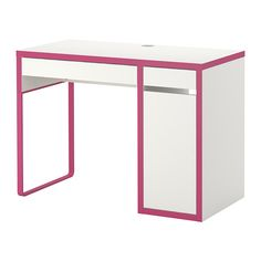 MICKE Desk - white/pink - IKEA Preppy enough, Cute enough, and Sexy enough. just puurfect. she likes huntie ; Micke Desk, Ikea Micke, Makeup Organization Ikea, Cute Desk, Vanity Desk, Kid Desk, Black Desk, White Desks, Ikea Bedroom