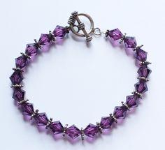 Vintage Sterling Silver 925 & Purple Crystal Glass Beaded Bracelet by paststore on Etsy