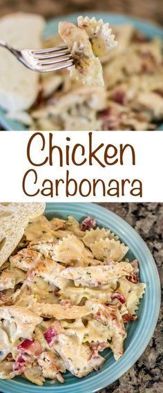 Chicken Carbonara recipe with Bacon, chicken and cheesy pasta perfection! An eas… Chicken Carbonara recipe with Bacon, chicken and cheesy pasta perfection! An easy way to create a gourmet chicken dinner the entire family will enjoy! Chicken Carbonara Recipe, Recipe Chicken, Pasta Carbonara, Heavy Cream Chicken Recipe, Creamy Bacon Carbonara, Heavy Cream Recipes, Fettuccine Noodles, Food Dinners, Pasta Recipes