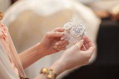 Handmade hair comb for each bridesmaid