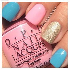 Add some glitter to your nails for the evening this summer.