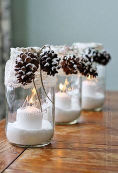 Chandelle naturelle - 15 manières de réutiliser nos pots Mason pour le temps des fêtes