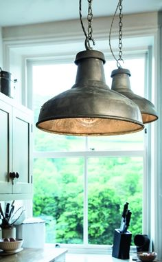 Hang Pairs Of Factorylux Galvanised #Industrial #lampshades Over A # Workbench, #island