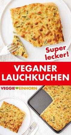 Dieses einfache vegane Rezept für herzhaften Lauchkuchen musst Du unbedingt probieren. Der Lauch Kuchen mit Hefeteig ist ohne Ei, ohne Käse und ohne Speck. Das Rezept ist vegetarisch und vegan. Der Lauchkuchen kommt immer sehr gut an. Er ist einfach zu backen und sehr gut vorzubereiten. Super lecker! #VeggieEinhorn #vegan #einfach #rezept #herzhaft #backen
