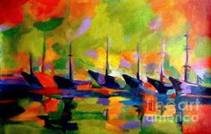 Sailing Boats By The River by Helena Wierzbicki #art