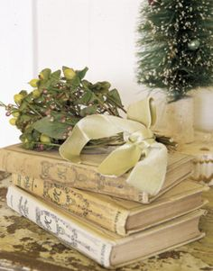 French Country 'old books' & satin ribbons