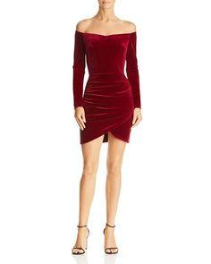 8970294d0919 AQUA - Ruched Off-the-Shoulder Velvet Dress - 100% Exclusive Formal Fashion