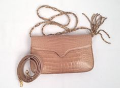 Lana Marks Beige Crocodile Shoulder Bag With Beaded Strap | From a collection of rare vintage handbags and purses at https://www.1stdibs.com/fashion/accessories/handbags-purses/