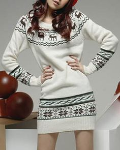 Fashionable Snowflake and Elk Print Ugly Christmas Sweater Dress For Women