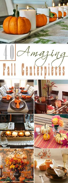 40 Amazing Fall Centerpieces For Dining Room Table Fall Decor Thanksgiving Diy, Thanksgiving Table Settings, Thanksgiving Centerpieces, Holiday Tables, Christmas Tables, Centerpiece Decorations, Table Centerpieces, Harvest Table Decorations, Fall Decorations