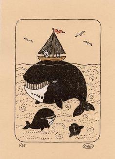 Whale Watch Tan Gocco Print - Bowhead Whale Boat Bunny