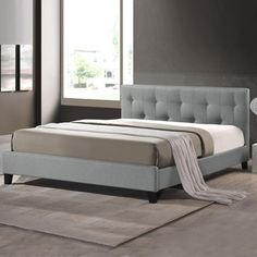 Baxton Studio Annette Gray Linen Modern Bed with Covered Buttons----- 299 dollars