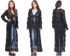 Black Crochet Dress Coat 90s Sheer Knit Long Boho by BetaApparel